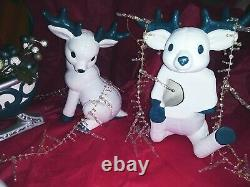 8 Piece Vintage Hand Painted Kimple Mold Santa Sleigh with 7 Reindeer