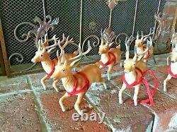 8 Vtg 1950s or 60sHard Plastic Brown Reindeer Santa Sleigh Running Christmas 7
