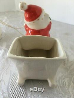 Adorable Vtg 1959 Holt Howard Santa in Sleigh Reindeer Christmas Candle Holder