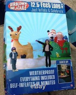Airblown inflatable HUGE 12' YARD DECOR CHRISTMAS SANTA SLEIGH REINDEER