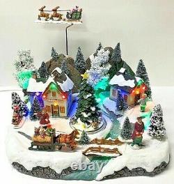 Animated Musical Christmas Rotating Santa's Sleigh and Reindeer Village