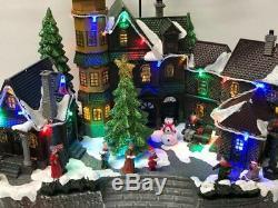 Animated Musical Santa's Sleigh and Reindeer Christmas Village And House
