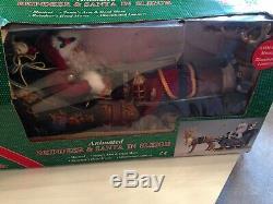 Animated Reindeer & Santa In Sleigh Large