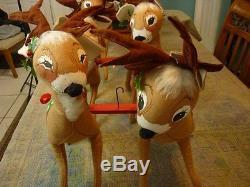 Annalee Dolls Eight 18 Reindeer with30 Velour Santa Sack Wood Sleigh'86 AL194