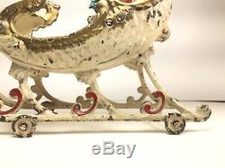 Antique 1906 HUBLEY White Cast Iron (2) TWO REINDEER Drawn Sleigh withSanta