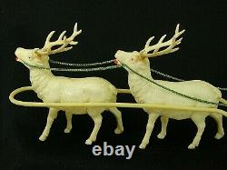 Antique 9067 Celluloid Santa Sled & Reindeer Set in Box Made in Japan'30s