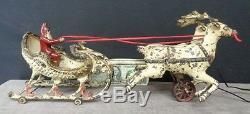 Antique Cast Iron Hubley SANTA CLAUS-Sleigh-Reindeer Pull TOY Original c1915 NR