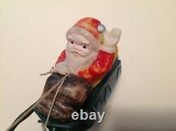 Antique Celluloid Santa Claus-Reindeer & Toys In Metal Key Wind Sleigh-Org. Box