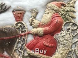 Antique Christmas German Die Cut Santa Claus Figure In Sleigh Reindeer 1880