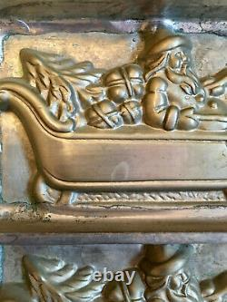 Antique Christmas Santa In Sleigh With Reindeer Chocolate Mold