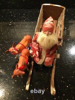 Antique German Rare Santa on Wood Sleigh with Reindeer