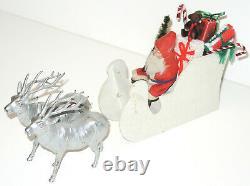 Antique German Santa Claus Paper Mache Candy Container & Sleigh & Metal Reindeer