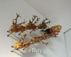 Antique German Santa Putz, Sled, and Lead Reindeer Rare