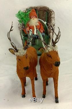 Antique German Santa in Sleigh with Reindeer Candy Containers ca1910