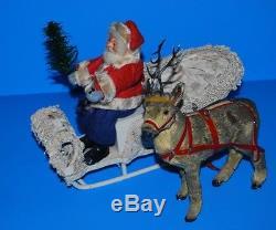 Antique Germany Santa, Sleigh, Fur Reindeer Putz Set