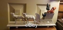 Antique Germany Santa Sleigh Sled Reindeer Mica Cardboard Wood Composition & Box