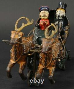 Antique Hubley Santa Claus Two Reindeer Sleigh Cast Iron Toy