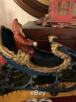 Antique Hubley Santa and Sleigh with Reindeer