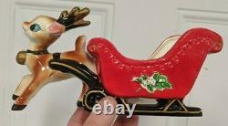 Antique Lefton Christmas Reindeer Pulling Sleigh & Tag Decor Santa Claus Rare