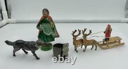 Antique Santa Reindeer Sleigh Germany Metal Heyde Miniature Rare c1900
