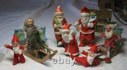 Antique Santa Reindeer Sleigh Germany Tin Cotton Batting Miniature c1900 Rare