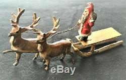 Antique Santa on Sleigh 2-Reindeer Germany Heyde Miniature Rare c1900