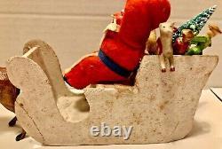 Antique VTG Composition Santa In Paperboard Sled Metal Reindeer Toys German