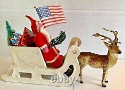 Antique Vintage Clay Face Santa Paperboard Mica Sled Metal Reindeer Toys Japan