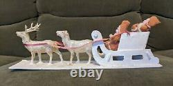 Antique Vintage Cotton Batting Santas In Sleigh Pulled By 2 Celluloid Reindeer
