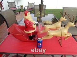 Antique Vintage Santa, Sleigh and Reindeer Blow Mold Plastic 1960's RARE HTF