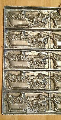 Antique chocolate mold Santa sleigh tree & toys with reindeer Eppelsheimer & Co