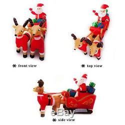 Athoinsu 8 Ft Still Christmas Inflatable Santa On Sleigh with Reindeer Yard and