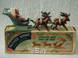 BENBROS 1950s BOXED DIECAST RARE SANTA / FATHER CHRISTMAS REINDEER SLEIGH & SACK