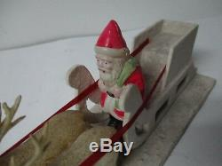 Beautiful Old 12L Celluloid Santa in Sled w 3 Celluloid Reindeer on Platform