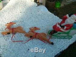 Blow Mold Reindeer Empire Santa Sleigh & Reindeer Christmas Plastic 22