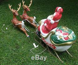 Blow Mold Santa Claus NOEL Sleigh and 2 reindeer
