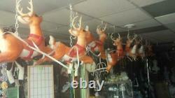 Blow Mold Santa Noel Sleigh and 9 Flying Reindeer about 30 feet long