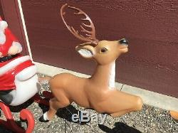 Blow Mold Santa Sleigh and 2 Reindeer Rudolph TPI 1989 Canada LOCAL PICK UP