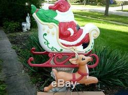 Blow Mold Set Santa Sleigh & Reindeer Grand Venture Lighted Vintage Decor