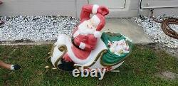 Blow mold Santa on sleigh with 4 reindeer read description and see pictures