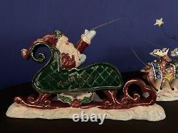 Blue Sky Clayworks Santa in Sleigh and Five Reindeer 2 piece tea light set