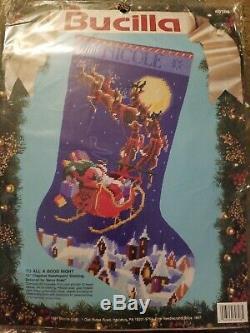 Bucilla TO ALL A GOOD NIGHT 60708 Needlepoint Stocking Santa Sled Reindeer New