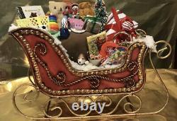 Byers Choice Caroler Mr And Mrs Santa Claus Plus Handmade Sleigh And 3 Reindeer