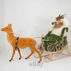 Byers Choice Caroler Santa with Gold Sleigh Reindeer Holding Bell 2000