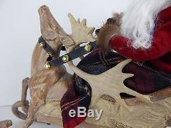 Byers Choice New for 2015 Storybook Santa in a Sleigh with Reindeer Stunning