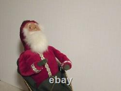Byers Choice Retired 1998 Red Santa in Gold Sleigh with Reindeer Rare Exclusive