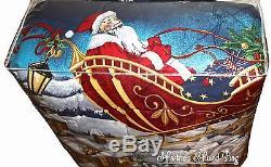 CHRISTMAS Holiday SANTAS Reindeer Red SLEIGH Snowflakes 6-8p Blue Comforter Set