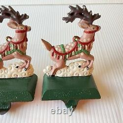 Cast Iron Midwest Cannon Falls Santa Sleigh Reindeer Hanger Stocking Holder FLAW