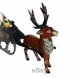 Cast Iron Santa in Swan Sleigh Reindeer Victorian 14 Vintage