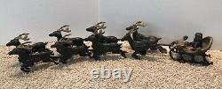 Cast iron Santa with 8 Reindeer and Sleigh reproduction Hubley Christmas